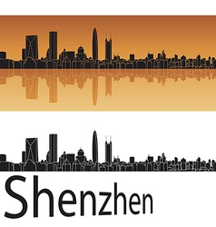 Shenzhen skyline in orange background vector image vector image