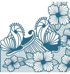 abstract pattern with butterflies and flowers vector image