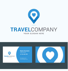 Logo and business card template for travel company vector image
