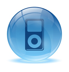 3d glass sphere and music player icon vector