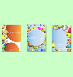 abstract frame multicolor balls background vector image