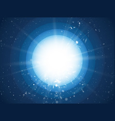 abstract light rays and dust on blue circle vector image