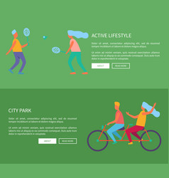 active lifestyle and city park web page design vector image