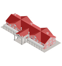 administrative building isometric with red roof vector image