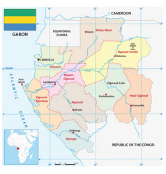 Administrative map african state gabon vector