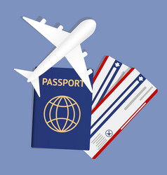 Air travel banner with passport - vacation concept vector