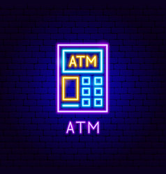 atm neon label vector image