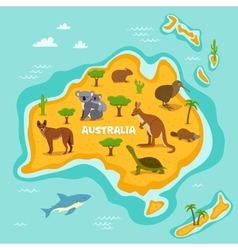 Australian map with wildlife animals vector