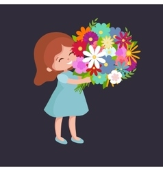 Baby girl with flowers cart vector
