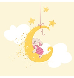 Baby Shower or Arrival Card - Sleeping Baby Bunny vector image