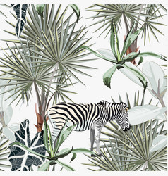 background with palm trees zebra vector image