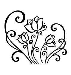 Beautiful decorative flower with leaves vector