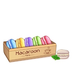 Beautiful of a French dessert macaroons in an vector image