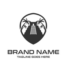 black logo yucatan pyramid with palm trees vector image