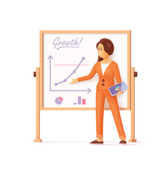 Businesswoman showing presentation charts vector