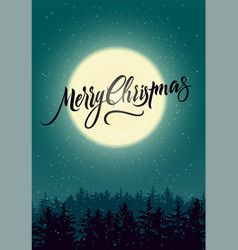 calligraphic christmas card with night landscape vector image