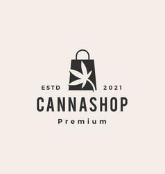 Cannabis shop shopping bag hipster vintage logo vector