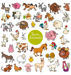 Cartoon funny farm animal characters set vector