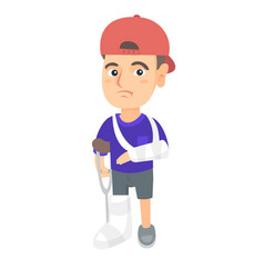 Caucasian sad injured boy with broken arm and leg vector