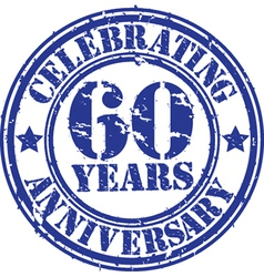 Celebrating 60 years anniversary grunge rubber sta vector image