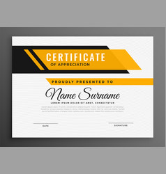 Certificate award diploma template in yellow color vector