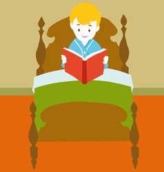 Child reading book vector