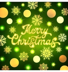 Christmas lettering inscription on green backdrop vector image