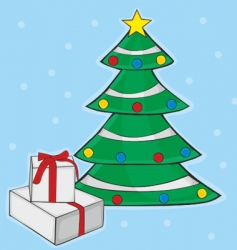 Christmas tree with box gifts vector image