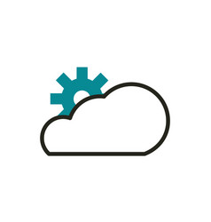 cloud computing setting web development icon line vector image