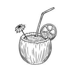 coconut shell with cocktail design element vector image