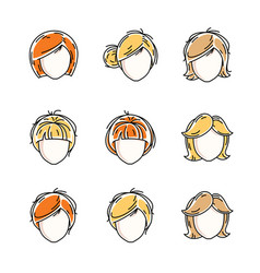 collection of women faces human heads diverse vector image