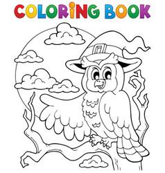 coloring book halloween owl 1 vector image
