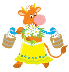 Cow with milk and flowers vector