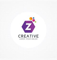 creative hexagonal letter z logo vector image