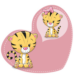 Cute cartoon dreaming tiger vector