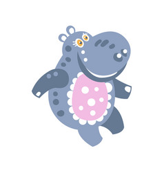 Cute cartoon smiling hippo character vector