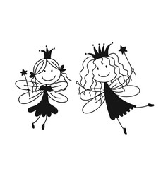 cute little fairies sketch for your design vector image