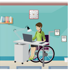 disabled young woman in wheelchair working in vector image