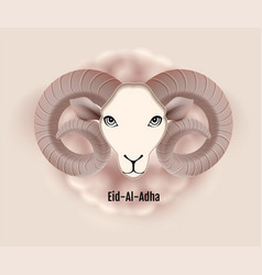 eid al adha text greeting card ram head of sheep vector image