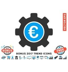 Euro Development Gear Flat Icon With 2017 Bonus vector