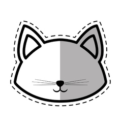 face cat pedigree feline adorable dot line shadow vector image