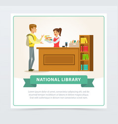 Female librarian assisting reader at service desk vector