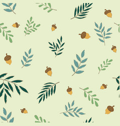 fern leaves and nut seamless pattern flat design vector image