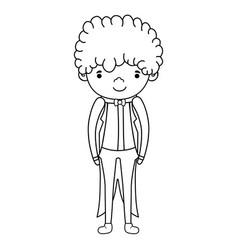Fiance male cute cartoon black and white vector