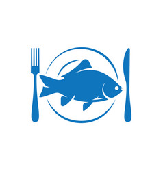 Fish on plate with fork and knife logo on white vector