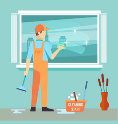 Flat man washes window - cleaning man vector