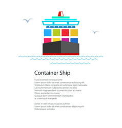 Front view of the cargo container ship and text vector
