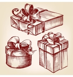 gift box set hand drawn llustration vector image