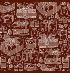 gift boxes in doodle style seamless pattern vector image