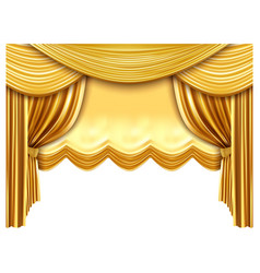 golden stage curtain realistic silk curtains vector image